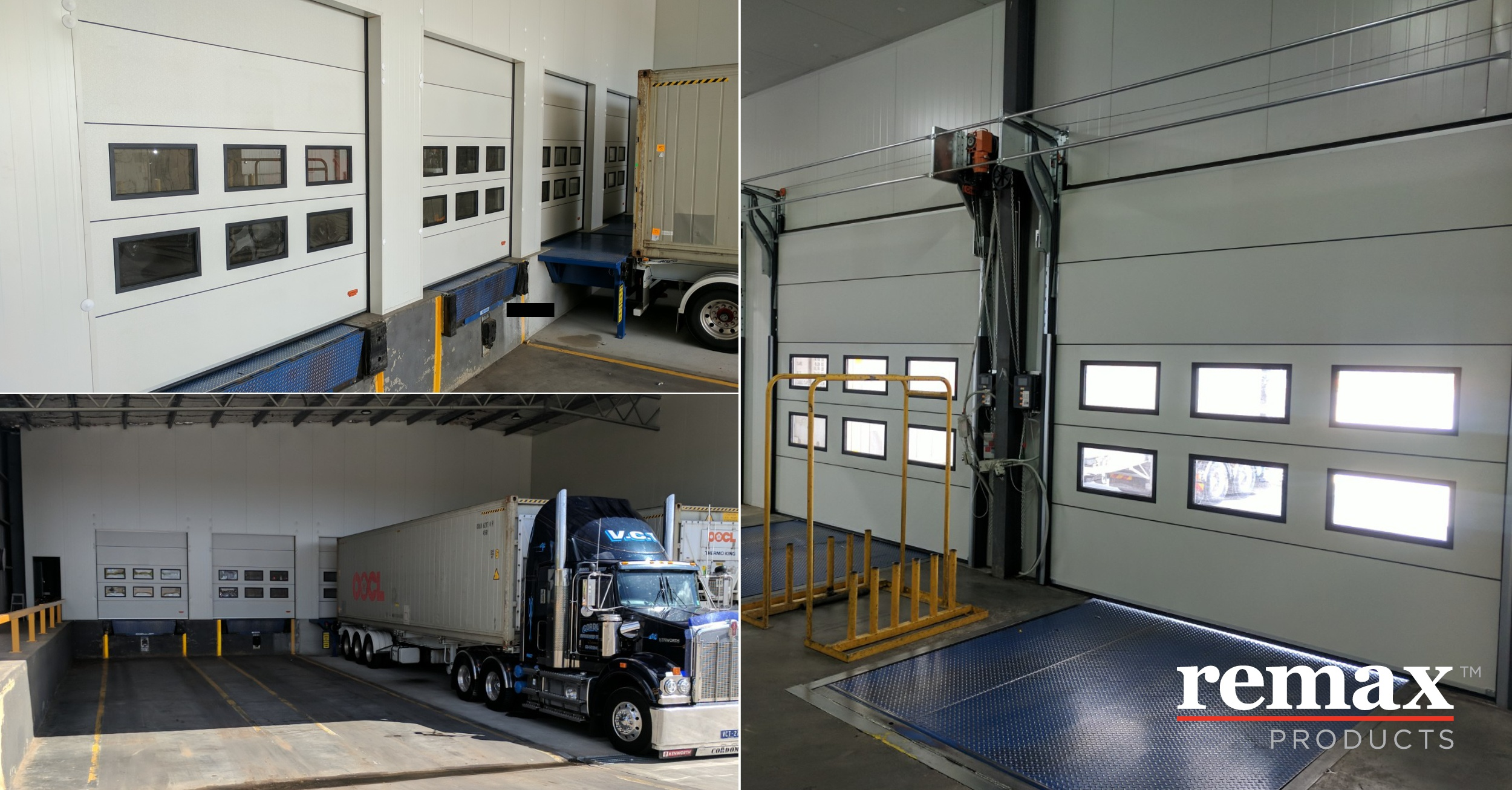 Leslie Refrigerated Transport loading dock doors which are insulated and fold up