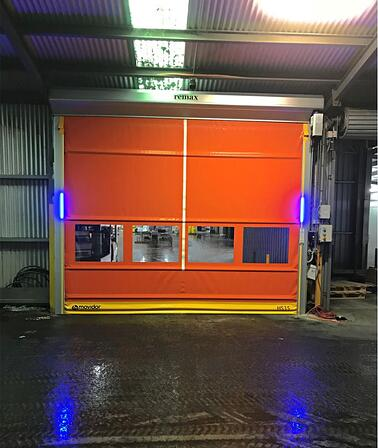 Rapid Doors at Vizzarri farms with LED traffic lights for forklift safety